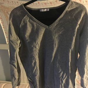 Grey V neck reconstructed Sweater